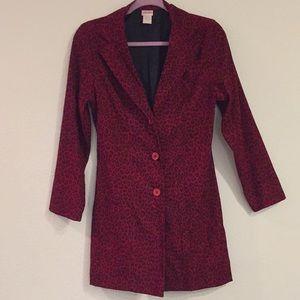 Red leopard print coat